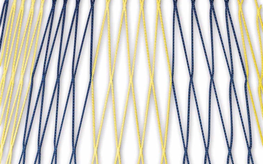 Zweifarbiges Netz für Fußballtore 7,32 x 2,44 m in Blau-Gelb