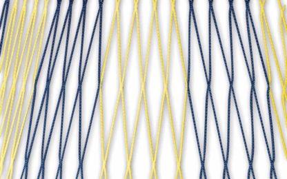 Tornetz Jugendtor 5,00 x 2,00 m, Farbe: blau-gelb in Diagonalstreifen, Auslage: 80/200 cm