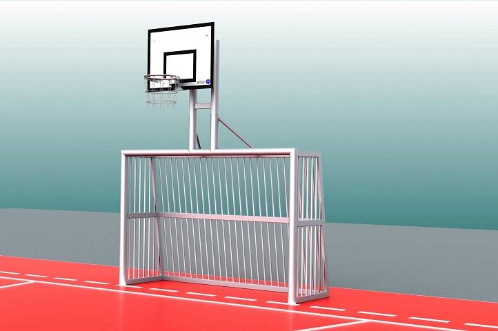 Bolztor mit Basketballaufbau und Sandfüllung