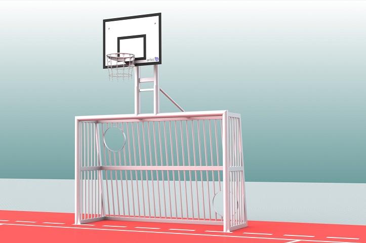 Sandverfülltes Bolztor mit Torwand und Basketballaufbau