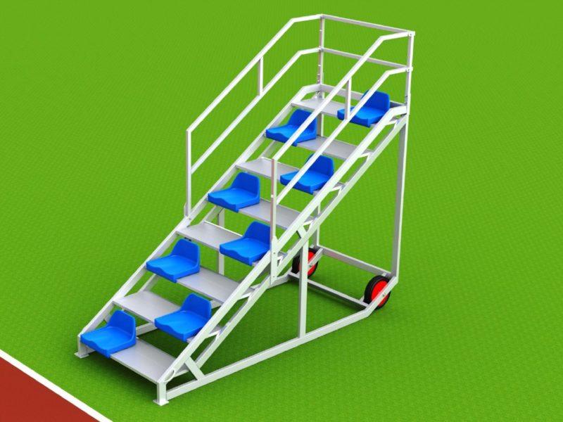 Zielrichtertreppe für 8 Personen mit Sitzschalen