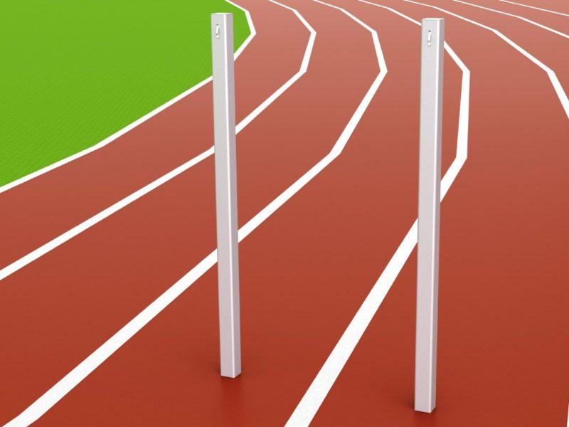 Zielpfosten aus Aluminium in Bodenhülsen stehend von artec Sportgeräte