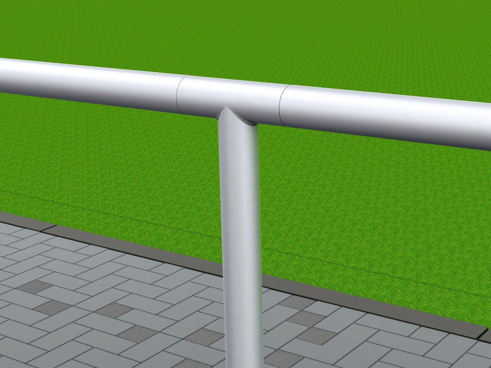 Barrieresystem aus Aluminium, Systemlänge: 50 m, innenliegende T-Verbinder, gerade Ausführung von artec Sportgeräte
