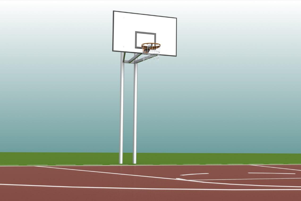 Basketballanlage aus Alu, komplett verschweißt