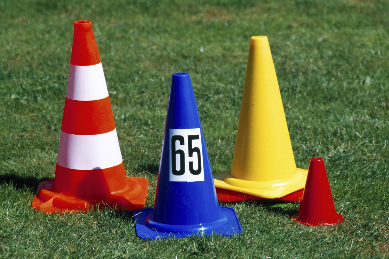 Marking cone with 28 cm height made of plastic, color: blue, from artec Sportgeräte
