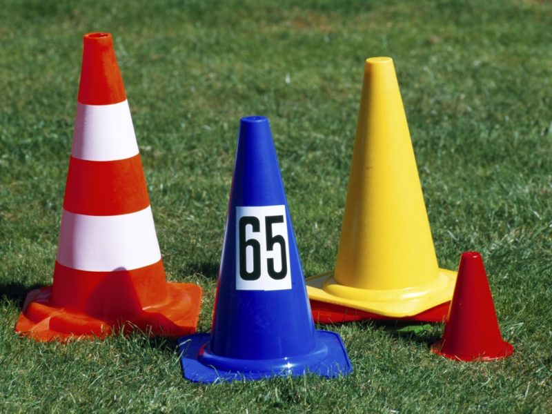 Plastic marking cones, height: 17 cm, color: red