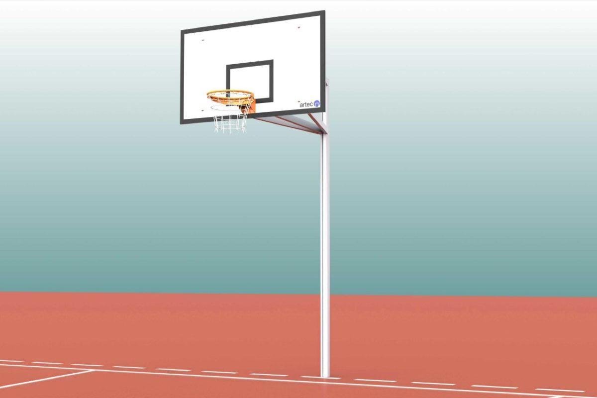 Basketball - Anlage aus Aluminium, Einmast, Ausladung: 1,65 m, Profil: 100 x 120 mm, TÜV-geprüft von artec