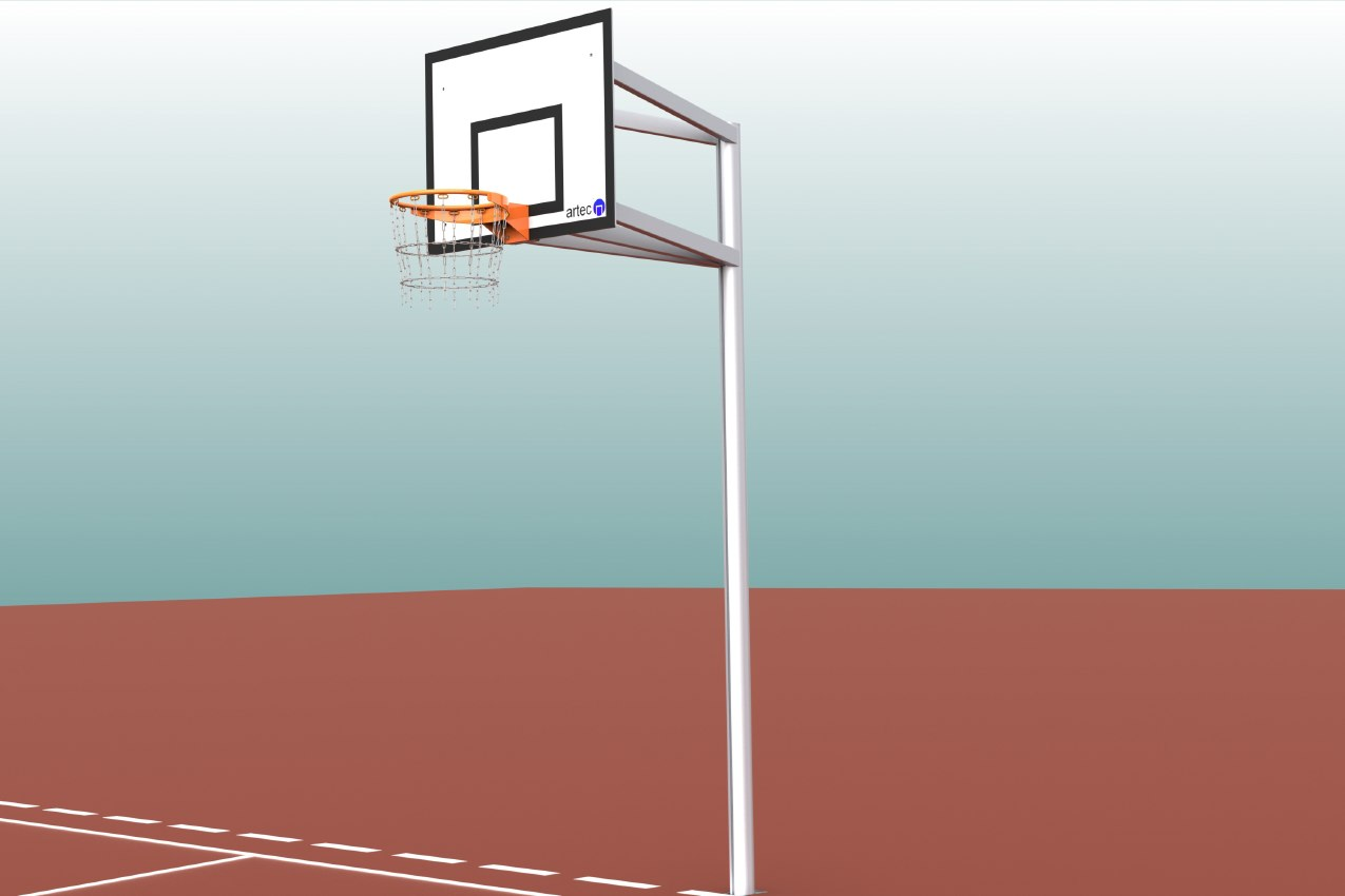 Robuste Einmast-Basketballanlage aus Aluminium