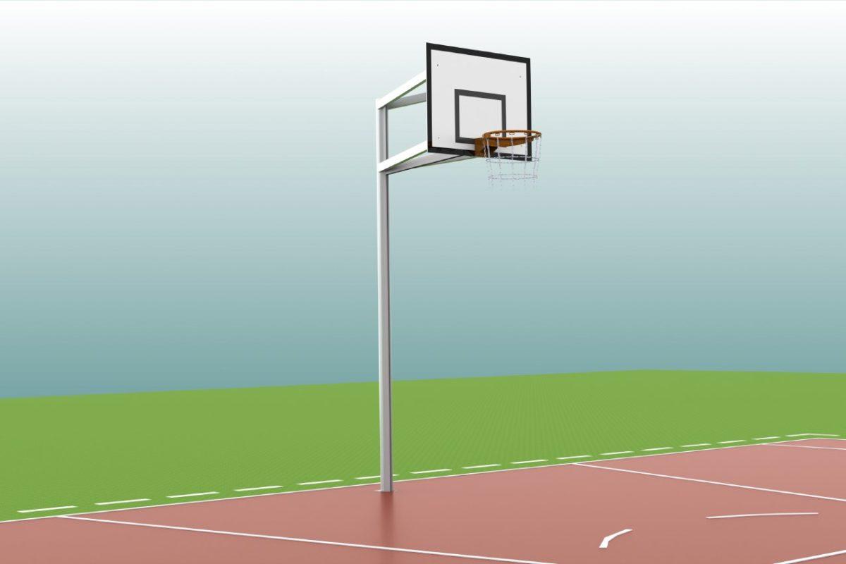 Basketball - Anlage aus Aluminium, Einmast, Ausladung: 1,25 m, Profil: 100 x 120 mm, TÜV-geprüft von artec