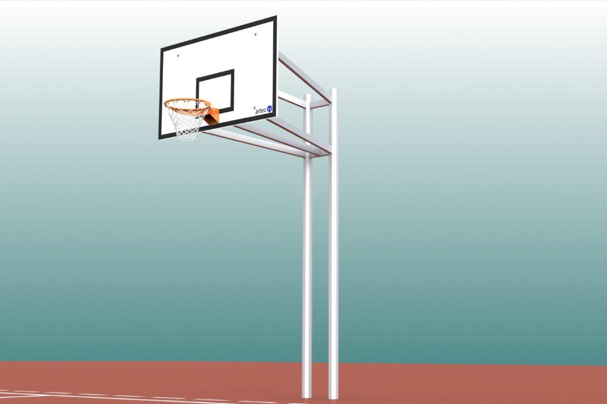 Basketball-Ständer aus Aluminium, Zweimast, Ausladung: 1,65 m, Profil: 100 x 120 mm, TÜV-geprüft von artec Sportgeräte