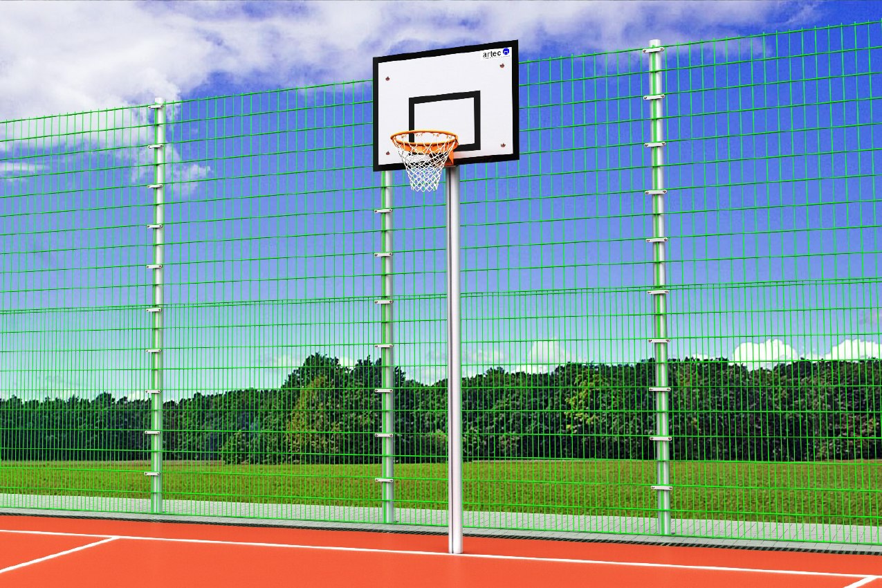 Einmast-Basketballständer ohne Ausladung aus Aluminium