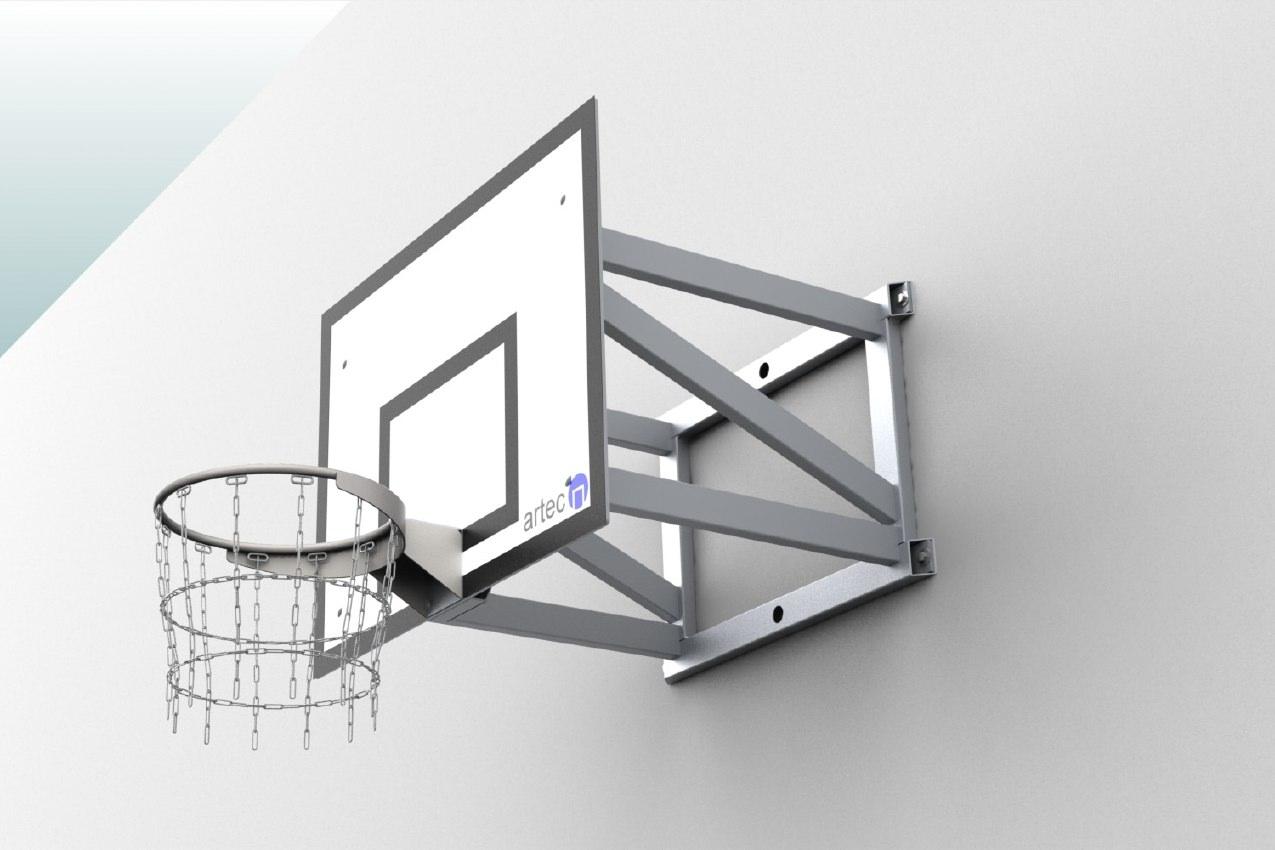 Robuste Basketballanlage als Wandkonstruktion