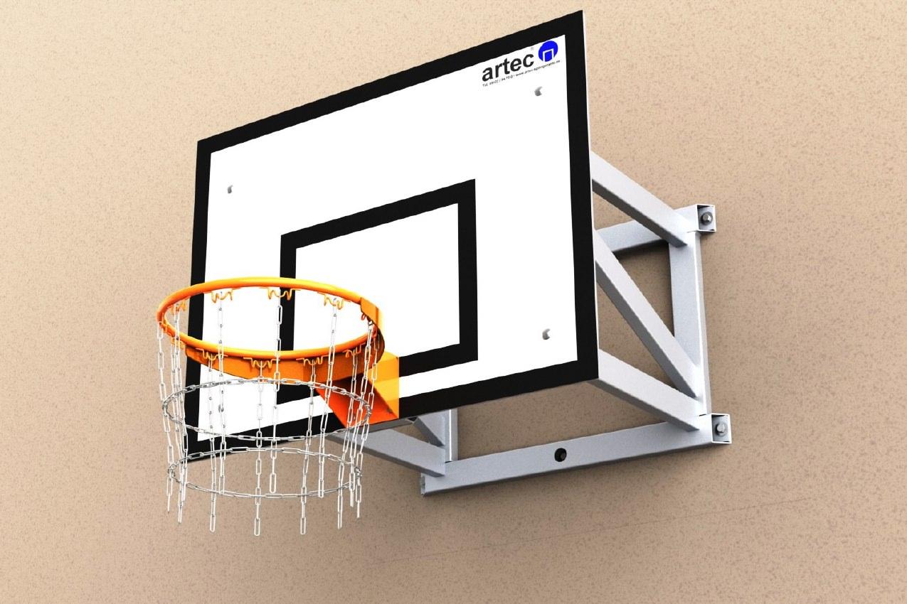 Basketballanlage zur Wandmontage aus Aluminium