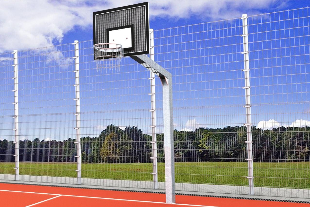 Streetballanlage mit großem Zielbrett aus Stahl