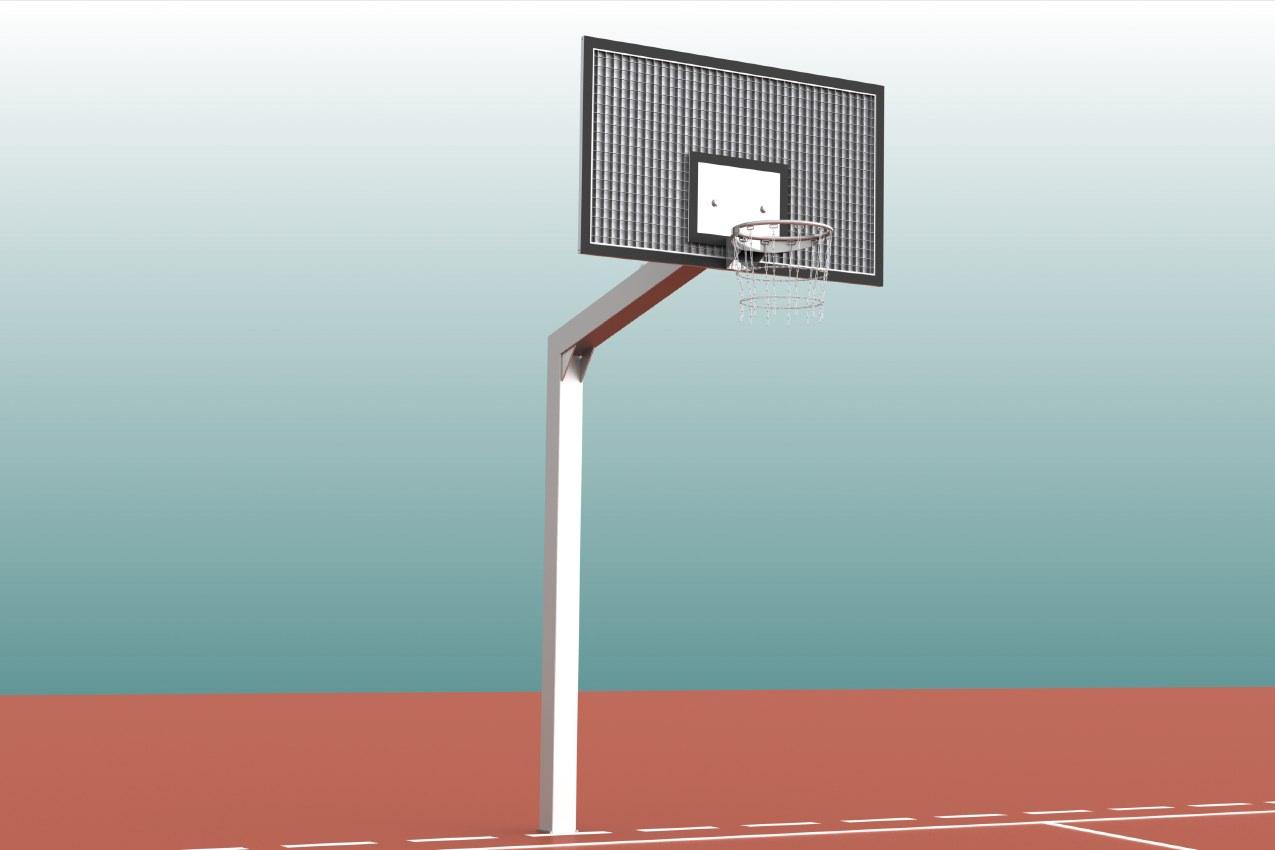 Einmast-Streetballanlage aus Stahl für Outdoor