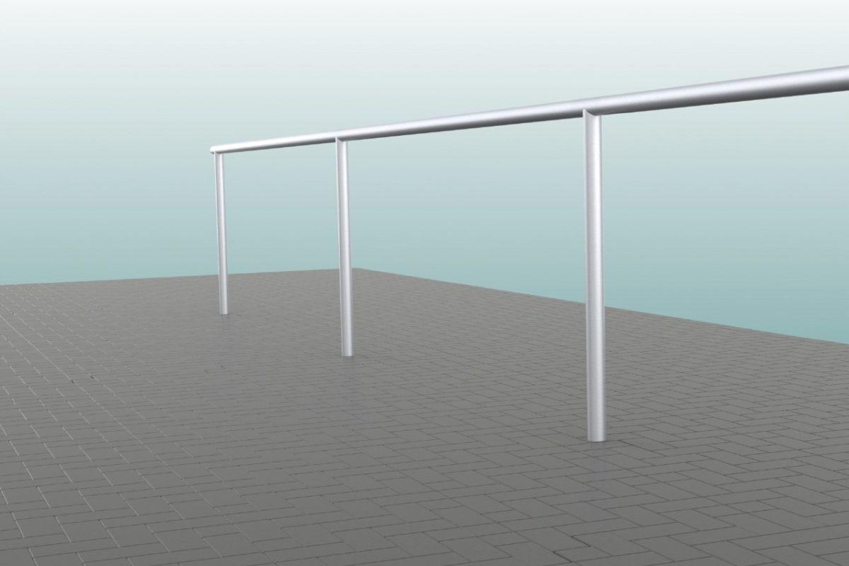 Barrieresystem aus Aluminium, Systemlänge: 50 m, innenliegende T-Verbinder, gebogene Ausführung eloxiert von artec