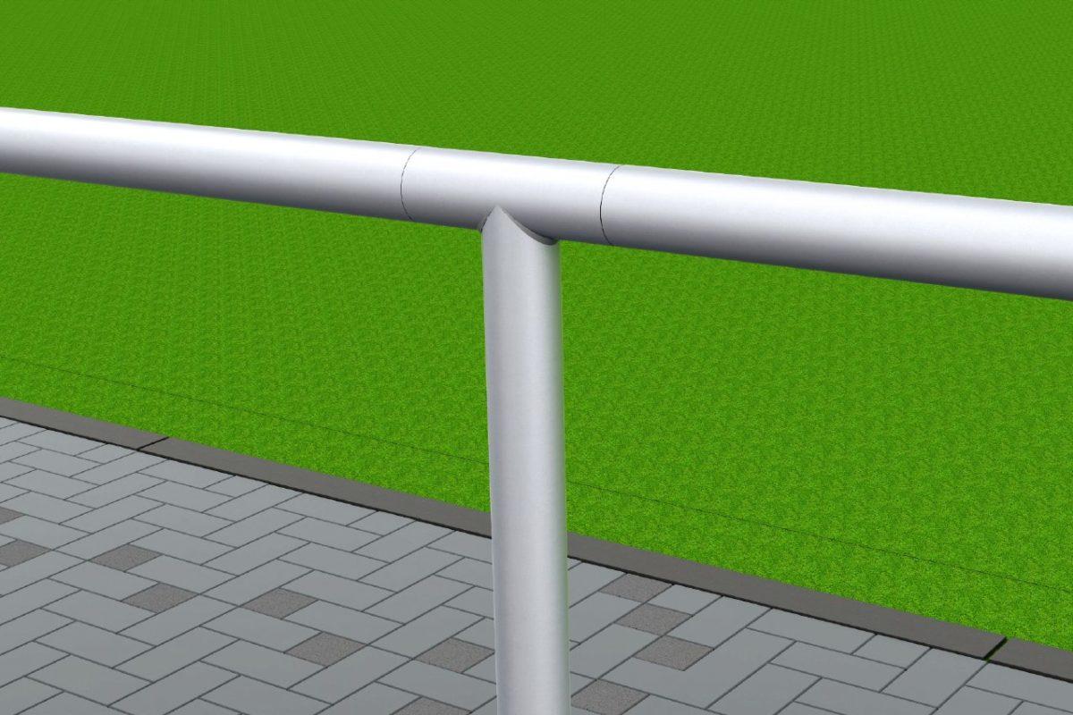 Barrieresystem aus Aluminium, Systemlänge: 50 m, innenliegende T-Verbinder, gebogene Ausführung eloxiert artec Sportgeräte