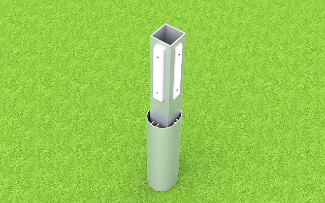 Adapter für Jugendtore, aus Aluminium mit Kunststoff-Gleitern, zum Einschieben in Bodenhülsen, Profil: 100 x 120 mm von artec Sportgeräte