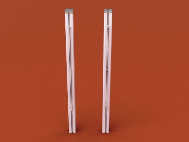 Tennispfosten aus Aluminium (Paar), mit innenliegender Spannvorrichtung und Kurbel, eloxiert, Profil: 80 x 80 mm von artec Sportgeräte