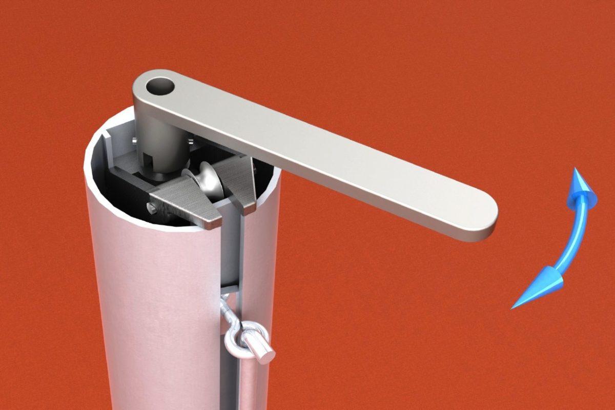 Tennispfosten aus Aluminium (Paar), mit innenliegender Spannvorrichtung und Kurbel, eloxiert, Rundprofil: 83 mm von artec