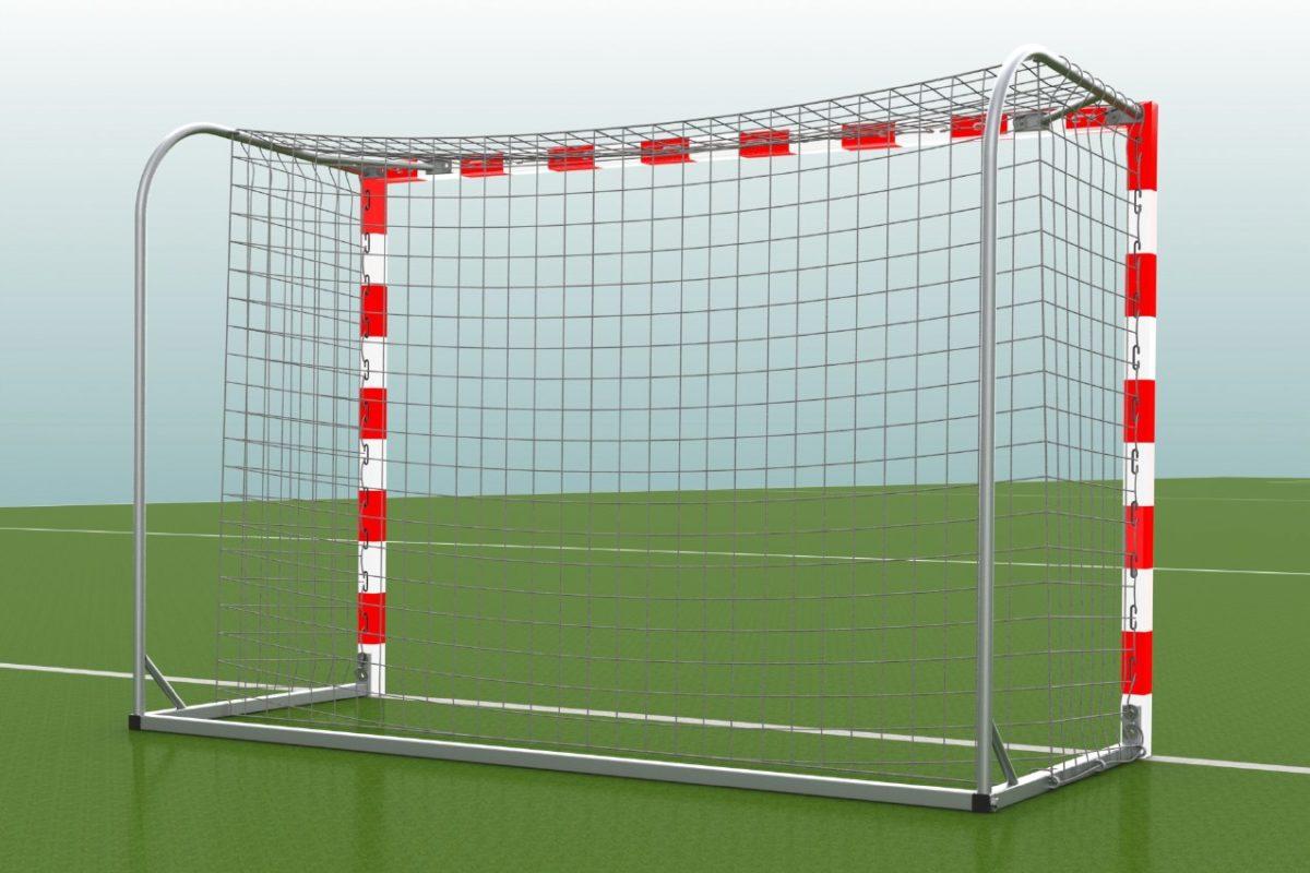 Handballtor aus Aluminium, eingefräste Netzaufhängung, Torrahmen in einem Stück verschweißt, Ausladung: 1,25 m, Farbe: rot/weiß von artec