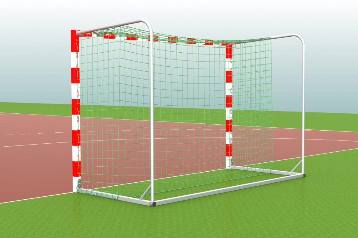 Handballtor aus Aluminium, eingefräste Netzaufhängung, Torrahmen in einem Stück verschweißt, Ausladung: 1,25 m, Farbe: rot/weiß, anklappbare Netzbügel von artec