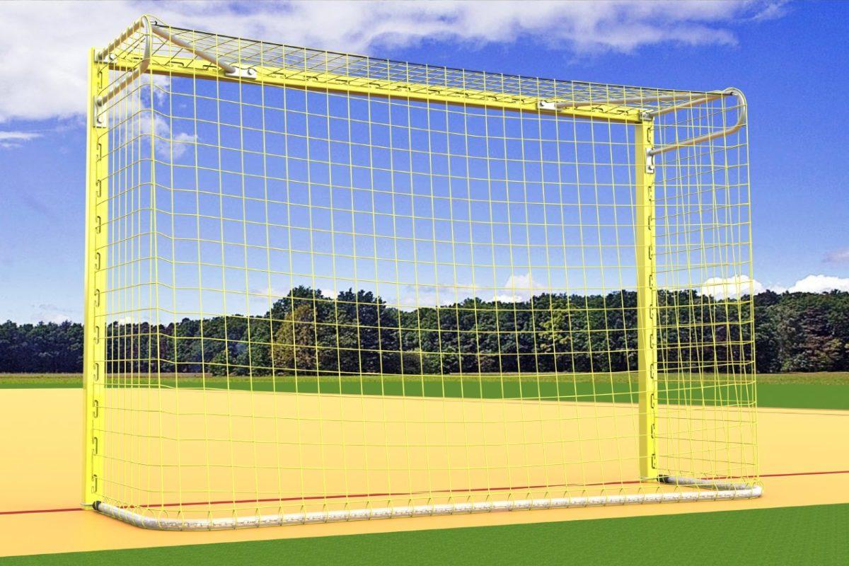 Beach-Handball-Tor aus Aluminium, Torrahmen in einem Stück verschweißt, eingefräste Netzaufhängung, Farbe: gelb von artec