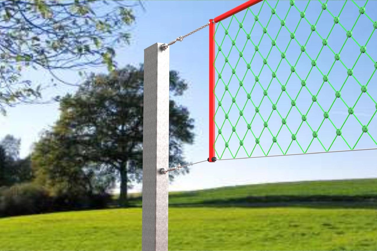 Volleyballpfosten aus Aluminium, für öffentliche Plätze, Profil: 300 x 120 mm, TÜV geprüft von artec Sportgeräte