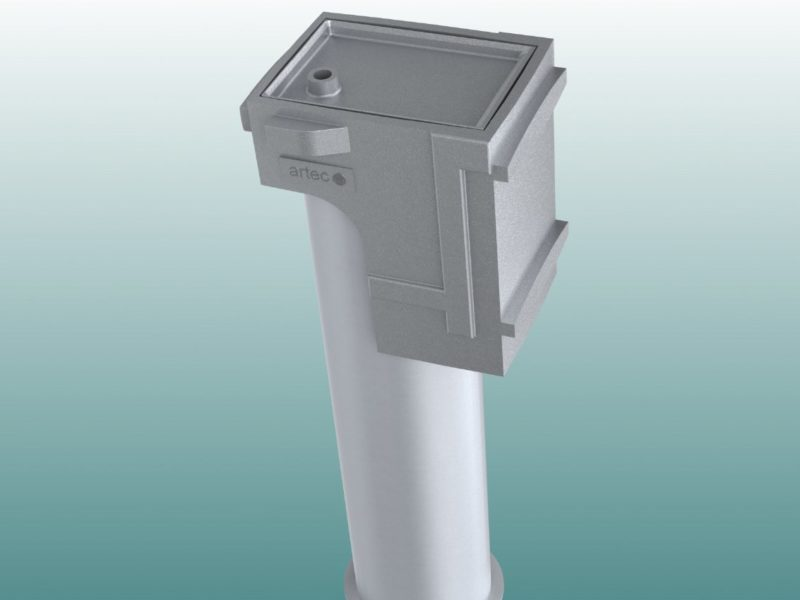 Special sloped ground socket for oval profile made by artec Sportgeräte
