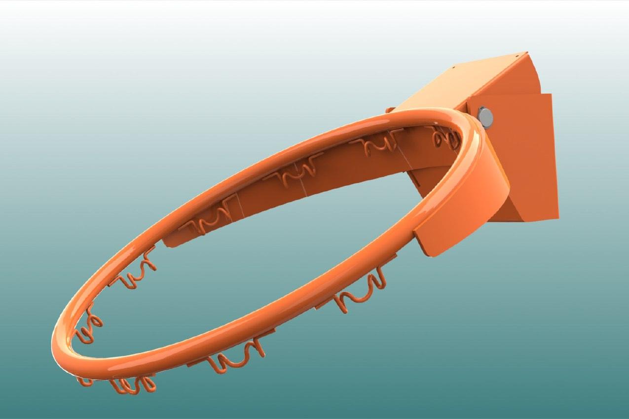 Basketballkorb aus Stahl, abklappbar ab 105 kg, feuerverzinkt und pulverbeschichtet, Farbe: orange von artec Sportgeräte