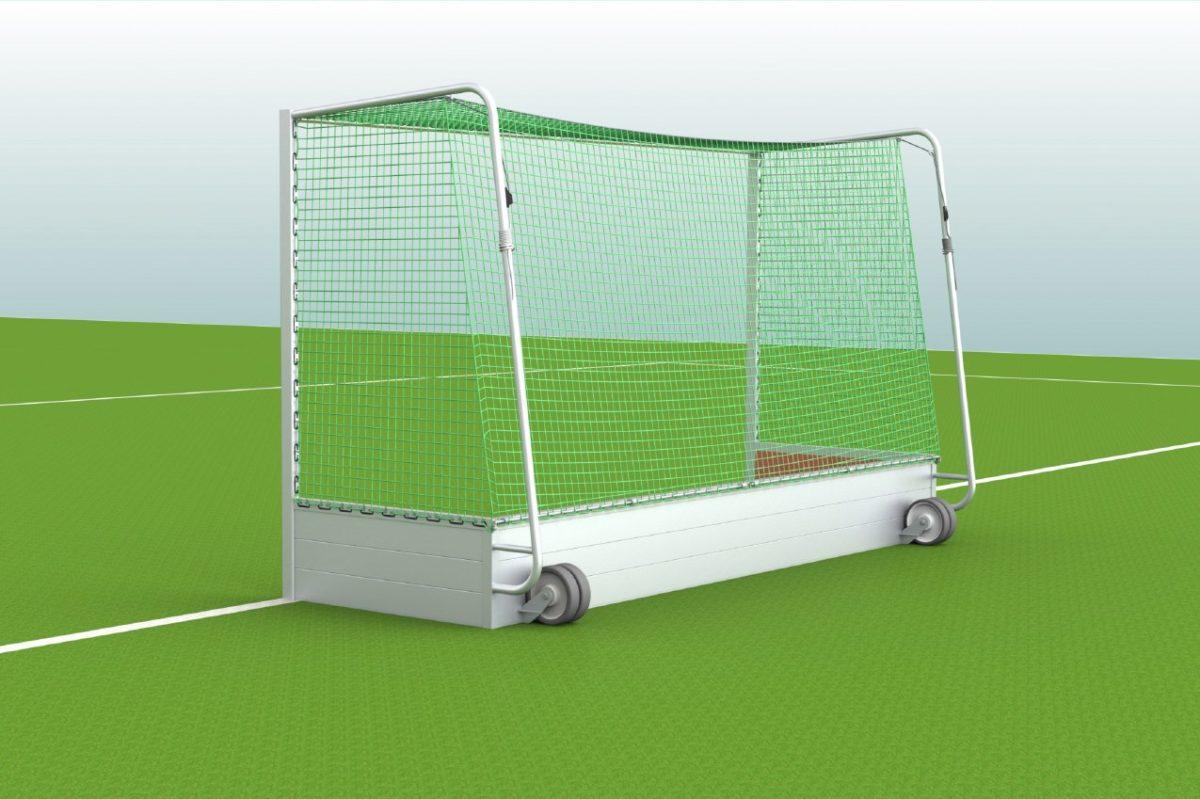 Hockeytor aus Aluminium mit eingefräster Netzaufhängung, Hartholzkern in den Pfosten, Farbe: Alu natur von artec