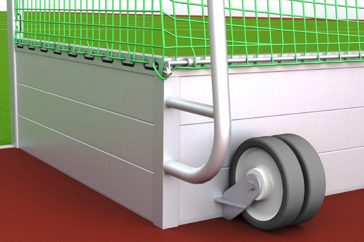 Hockeytor aus Aluminium, pulverbeschichtet, mit Laufrollen von artec Sportgeräte