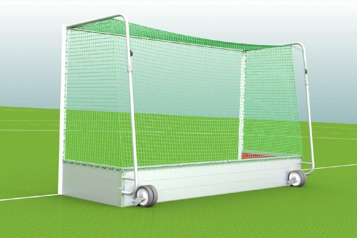 Hockeytor aus Aluminium, eingefräste Netzaufhängung, Transportrollen, Hartholzkern in den Pfosten, Farbe: weiß pulverbeschichtet von artec