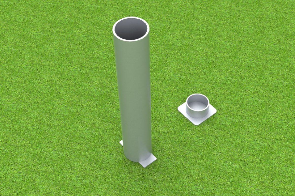 Bodenhülse Standard aus Aluminium für Faustball Pfosten, Profil: 100 x 120 mm artec Sportgeräte
