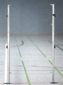 Badminton Pfosten (Paar) aus Stahl, weiß pulverbeschichtet, Profil: 40 x 40 mm
