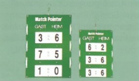 Spielstandsanzeige Match-Pointer aus lichtbeständigem Kunststoff und nicht rostenden Beschlägen