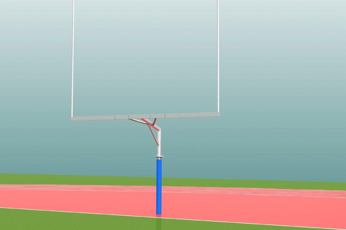 Footballtor aus Aluminium, Upright: 9,15 m, Höhe Querlatte: 3,05 m