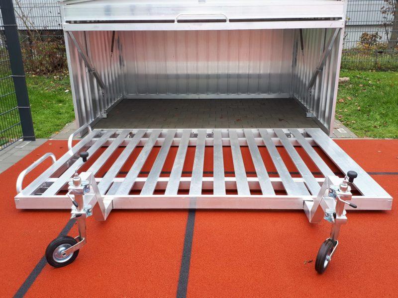 Fahrbares Auflageraster PREMIUM aus Aluminium für klappbare Hochsprungmatte, Abmessung 500 x 300 cm