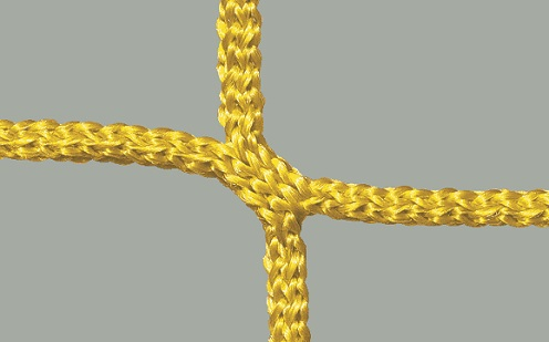 Net for soccer goals in yellow, honeycomb meshes